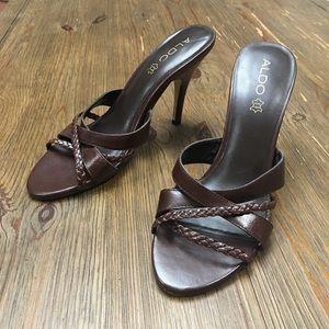 ALDO Genuine Leather Strappy Braided Mule Heels 39